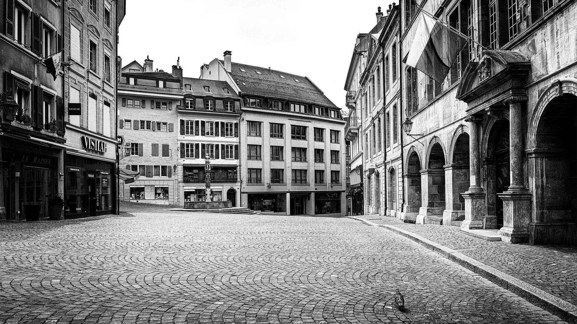 Place de la Palud, l'Hôtel de Ville est gardé par un pigeon